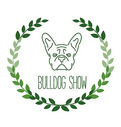 Logo with french bulldog and twigs nanoline style vector