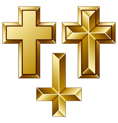 Massive golden christian crosses vector