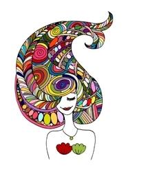 Mermaid portrait zentangle sketch for your design vector