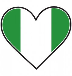 Nigeria heart flag vector image vector image