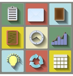 Office flat icons set vector image vector image