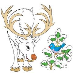 Reindeer and bird vector