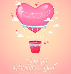 Romantic heart shaped air balloon retro postcard vector