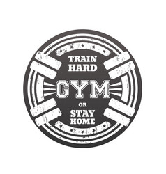 Round gym emblem logo badge with barbells vector