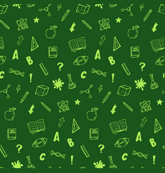 School supplies icons seamless pattern vector