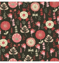 seamless pattern with flowers on a dark background vector image
