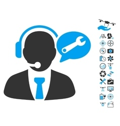 Service manager message icon with air drone tools vector