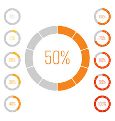Set of ring pie charts with percentage value vector
