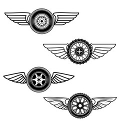 set of winged wheels design element for logo vector image