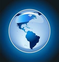 Shiny globe on blue background vector