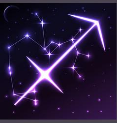 Space symbol of sagittarius of zodiac and vector