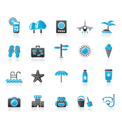 summer vacation and beach icons vector image vector image