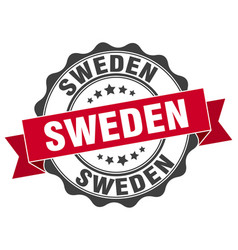 Sweden round ribbon seal vector