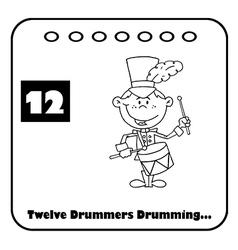 Twelve drummers drumming cartoon vector