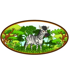 zebra cartoon with forest background vector image
