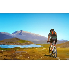 Man cyclist traveling on norway vector