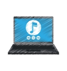 Drawing laptop music player app modern vector