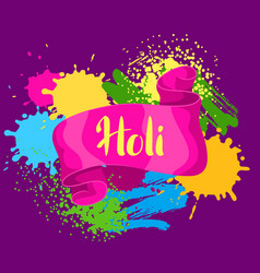 Happy holi colorful background card with paint vector