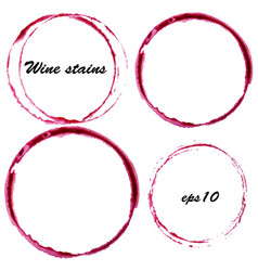 Watercolor wine stains wine glass circles mark vector
