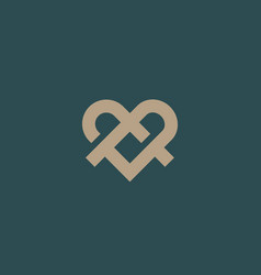 Ribbon heart symbol icon logo with shadows line vector