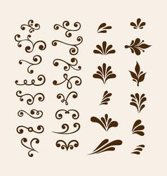 Floral elements for decoration set vector