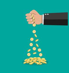 Cartoon businessman hand losing golden coins vector