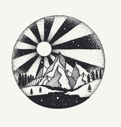 Full moon nigh above mountain dot work vector