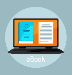 E-book concept laptop with book digital library vector