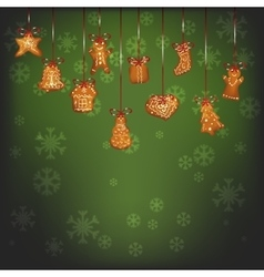 Hanging christmas gingerbread for xmas decoration vector