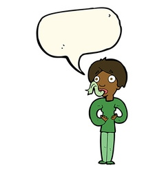 Cartoon woman sticking out tongue with speech vector