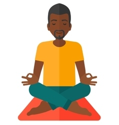 Man meditating in lotus pose vector