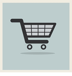 Shopping cart icon on retro blue background vector