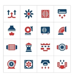 Set color icons of ventilation and conditioning vector image