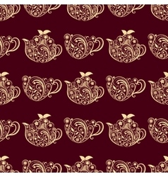 Seamless floral teapot and cup pattern vector