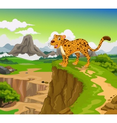 Funny cheetah cartoon with beauty mountain vector