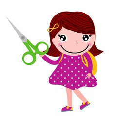 Creative girl with scissors isolated on white vector