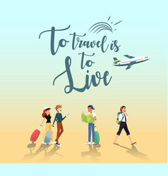 adventure trip for traveler by plane design vector image vector image