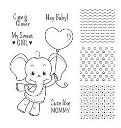 Baby elephant outline design set seamless patterns vector