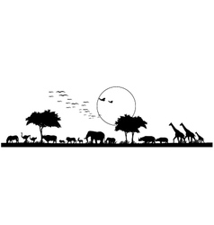beauty silhouette of safari animal vector image vector image