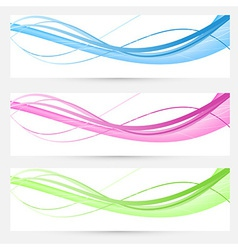 Bright modern speed swoosh cards set vector