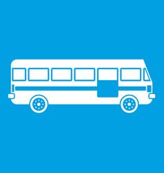 Bus icon white vector