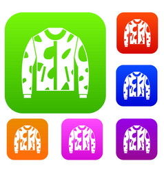camouflage jacket set collection vector image vector image