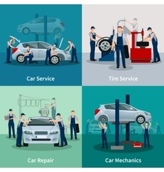 Car service 2x2 compositions vector