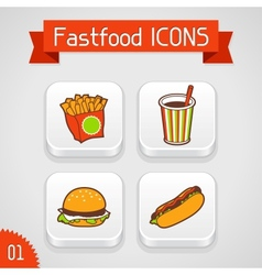 Collection of apps icons with fast food Set 1 vector image vector image