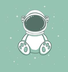cute astronaut bear vector image vector image