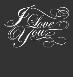 decorative i love you calligraphy vector image vector image