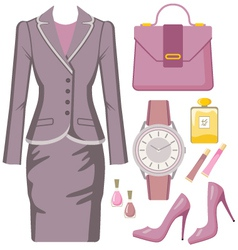 Fashion set from a female sui vector image