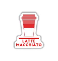 Flat icon design collection latte macchiato vector