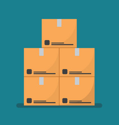 Flat style cardboard boxes vector