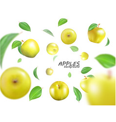 flying yellow apples advertising fresh vector image